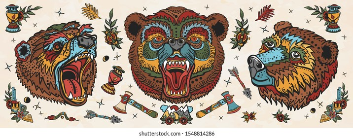 Bear head. Old school tattoo collection. Aggressive grizzly, traditional tattooing style