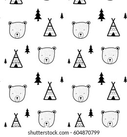 bear head pattern illustration vector.