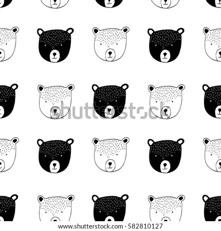 Bear Head Pattern Illustration Vector