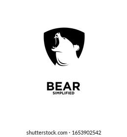 Bear head roar shield badge logo icon design vector illustration