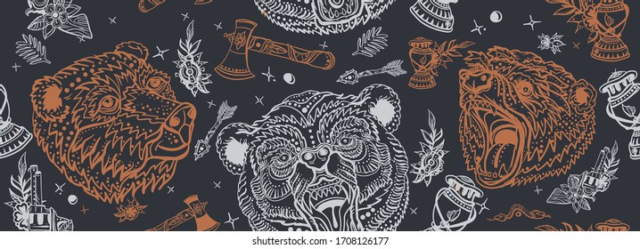 Bear head, seamless pattern. Old school tattoo art. Tourism symbol, adventure, great outdoor. Grizzly background