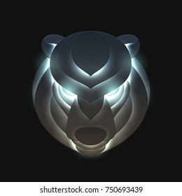 Bear head in trendy paper cut craft graphic style. Modern design for advertising, branding greeting card, cover, poster, banner. Vector illustration.