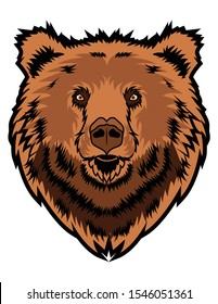Bear head vector isolated in white background