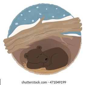 Bear Hibernating - Clip art of a bear sleeping in his den. Eps10