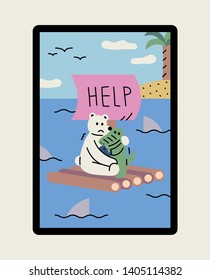 A bear and his friend crocodile asking for help on a raft. flat design style minimal vector illustration