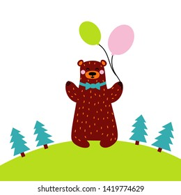 Bear holding air balloons; a cute character for nursery, babyshower, poster or greeting card. Flat cartoon style. Vector