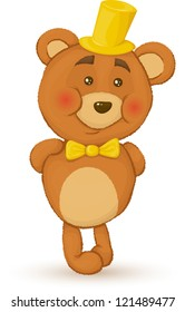 Bear holds his hands behind his back. Bear with hat and bow tie.