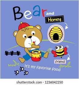 bear and honey funny animal cartoon,vector illustration