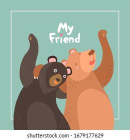 Bear hug. Hand draw,Cartoon illustrations greeting cards ,Valentines card.