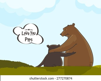 """Bear hugging to his child, and stylish text """"Love You Pops"""" on nature background."""