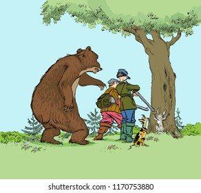 Bear hunting hunters. Hunter trophy hunt prey of bear and hare for hunting season