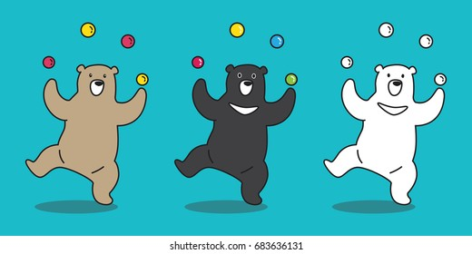 Bear icon Polar Bear juggling ball illustration character cartoon