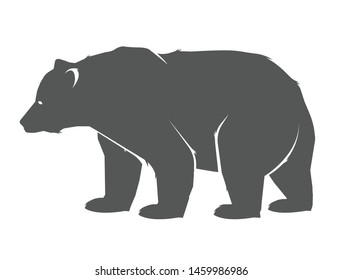 Bear icon. Vector concept illustration for design. Bear icon silhouette. Illustration of bear, standing in profile.