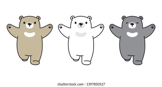 Bear icon vector teddy polar bear running logo teddy cartoon character illustration doodle