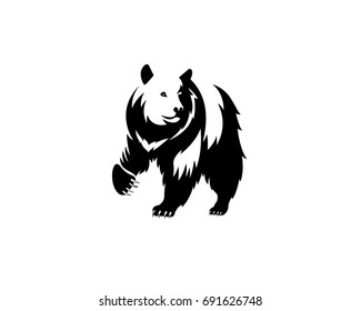 Bear icon, wild animal, emblem, loud and grizzly, white background, vector illustration