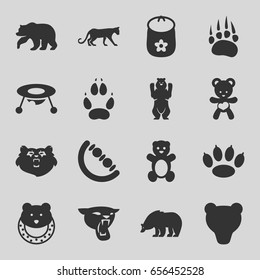 Bear icons set. set of 16 bear filled icons such as animal paw, panther, baby toy
