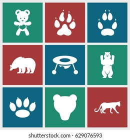 Bear icons set. set of 9 bear filled icons such as animal paw, panther, baby toy