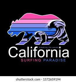 Bear illustration with flashy color design, tee shirt graphics, vectors, California typography