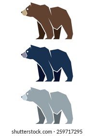 Bear illustration, usable as template logo. It is an illustration showing a bear shaped with straight lines. including a brown, black and polar bear.