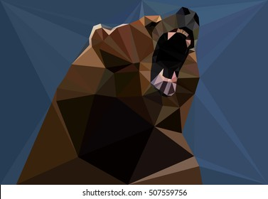 Bear illustration Vector Grizzly Angry & Strength eps10