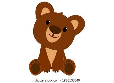 Bear kuma Brown kawaii cute  sit baby animal Cartoon illustration Vector