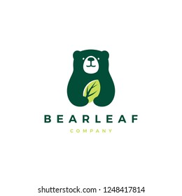 bear leaf leaves natural nature logo vector icon illustration