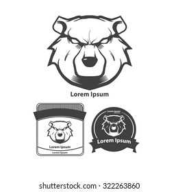 bear for logo, american football symbol, simple illustration, sport team emblem, design elements and labels, security idea