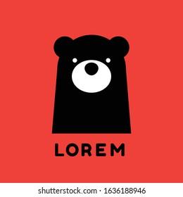 Bear logo design on red background : portrait of cute bear