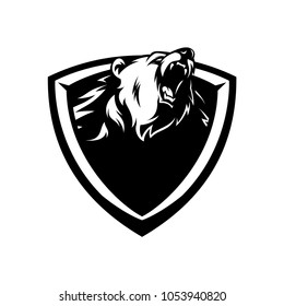 Bear logo emblem black and white