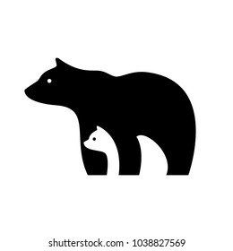 bear logo, mother and baby bear logo, cute bears logo