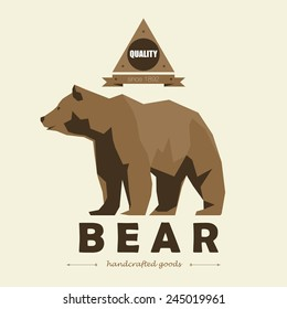 bear logo simple vector image polygon geometry vintage retro hunting flat animal polygonal wild