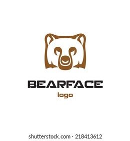 Bear logo template. Animal head symbol.