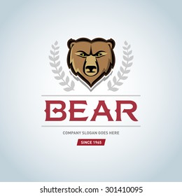 Bear logo template. Animal head symbol. Grizzly mascot, team logo design, angry bear. Bear Logotype Vector design element, business sign template bear face, t-shirt design.