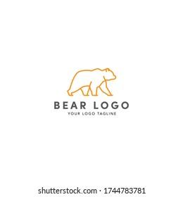 Bear logo template, line art animal