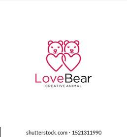 Bear Love Logo Design Vector Stock