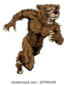 A bear man character or sports mascot charging, sprinting or running
