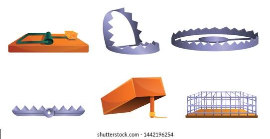 Bear metal trap icons set. Cartoon set of bear metal trap vector icons for web design