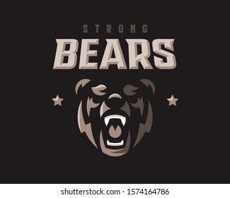 Bear modern mascot logo.Grizzly emblem design editable for your business. Vector illustration.