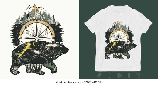 Bear and mountains. Otdoors print for t-shirts and another, trendy apparel design. Magic tribal, double exposure animals