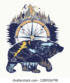 Bear and mountains, t-shirt design art. Travel and outdoor symbol, adventure tourism. Mountain, forest, night sky. Magic tribal bear double exposure animals