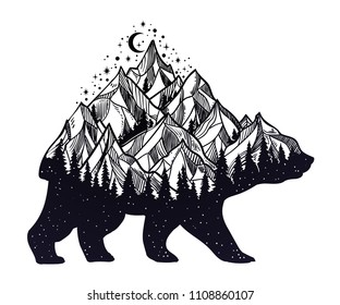 Bear and night forest mountain landscape, double exposure, wildlife tattoo art, fantasy style. Vector isolated illustration.