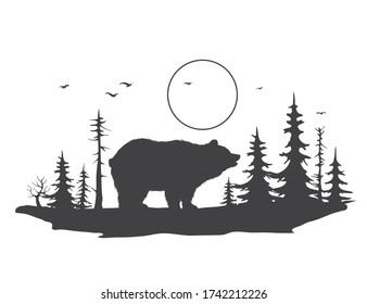bear on the background of a forest landscape.Abstract style.Vector illustration
