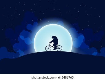 A bear on a bicycle.In the background the moon and the night sky.