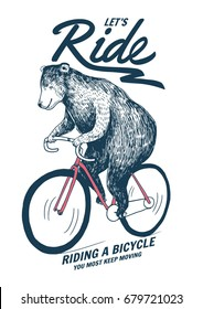 Bear on bicycle illustration for t-shirt print and other uses.