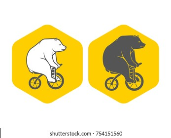 Bear on bicycle minimalistic emblem logo vector illustration