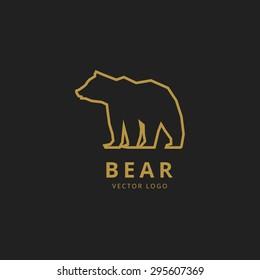 bear outline logo simple vector image line best animal silhouette wildlife natural golden