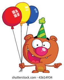 Bear in party hat with balloons