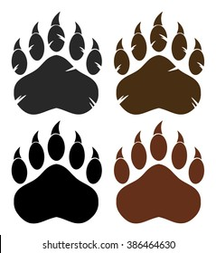 Bear Paw With Claws. Vector Collection Set