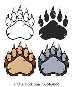 Bear Paw Logo Design. Vector Collection Set
