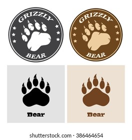 Bear Paw Print Circle Logo Design 2. Vector Collection Set